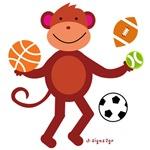 Sports Balls Monkey T-shirts
